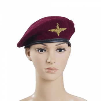 Wine Red Wool Military Beret With Eagle