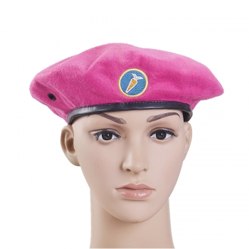 Pink polyester military beret cheap army beret