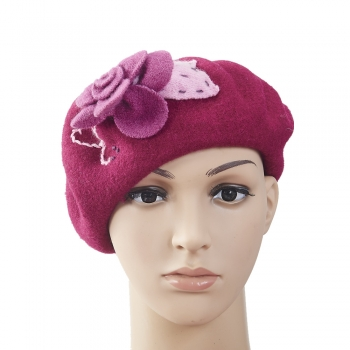 Fashion flower wool civil beret